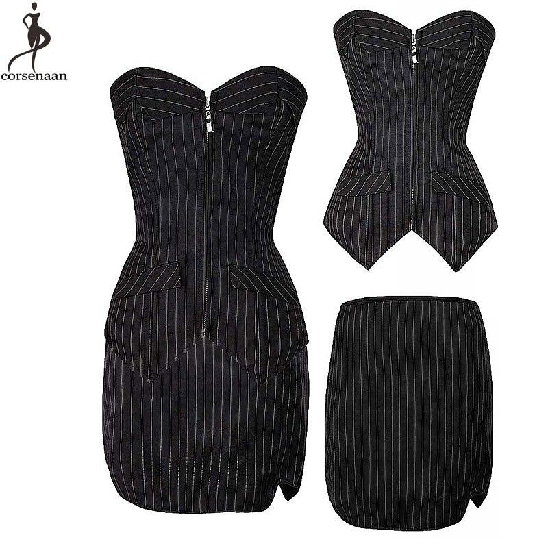Corset   Dress Suit Fish Boned Korsett For Women Office Lady Everyday Club Wear   Bustier   Zip Up Gorset Top & Pencil Skirt Plus Size