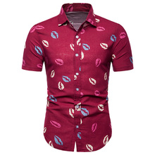 MarKyi Fashion Lip print New 2019 Hawaii Floral Man Short Sleeve Shirt Plus Size Mens Casual Shirts Cotton