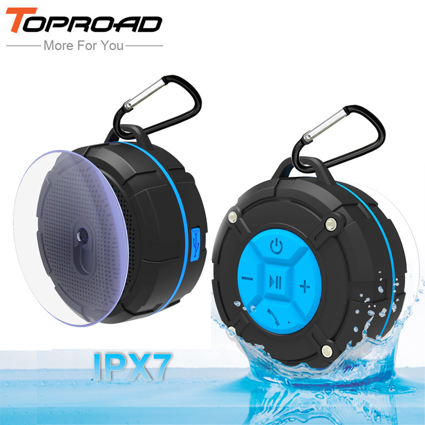 TOPROAD Waterproof Outdoor Bluetooth Speaker Portable Wireless Subwoofer Loudspeaker Shower Bicycle Speakers with Suction Cup