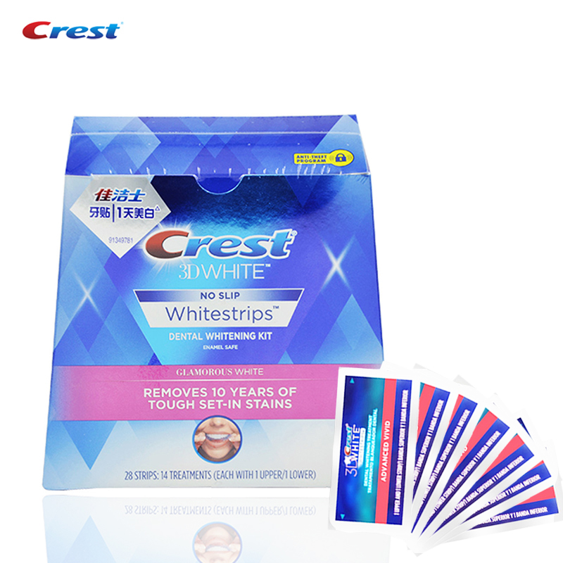 Whitestrips Crest Avanzata Vivid Igiene Orale Dentale Bianco 14 Pouches/28 Strisce per 14 Giorni Strisce Sbiancanti