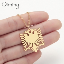Albania Eagle Pendant Necklace Coat Of Arms Double Headed Ethnic Stainless Steel For Women Men Gifts