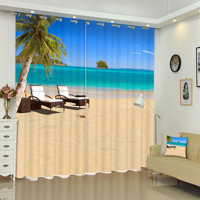 Blackout Curtains Panel Beach Coconut Tree Holiday Resort Pattern Thickened Fabric Bedroom For Living Room Textile