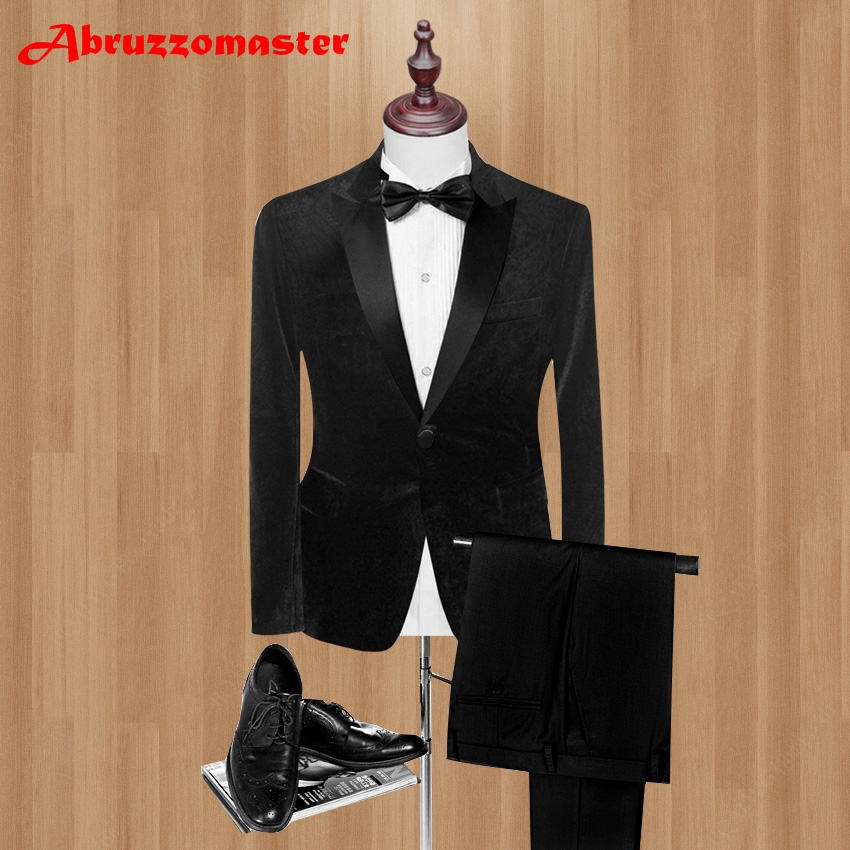 Classic style Velvet Tuxedos 3 Color Groom Tuxedos Pesked Lapel Groomsman Suit Custom Made Man Suit Man  clothes (Jacket+pants)