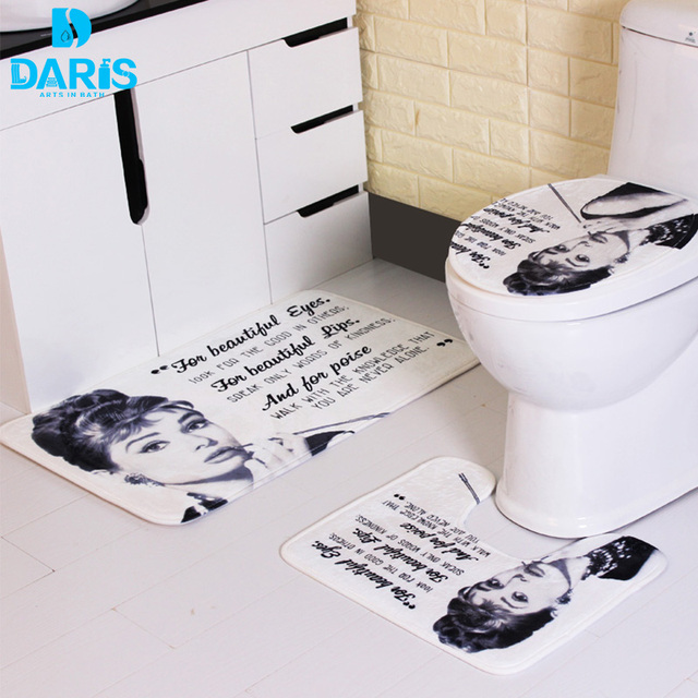 Daris Bath Mat Three Set Toilet Audrey Hepburn Prints European Simple And High Quality Push