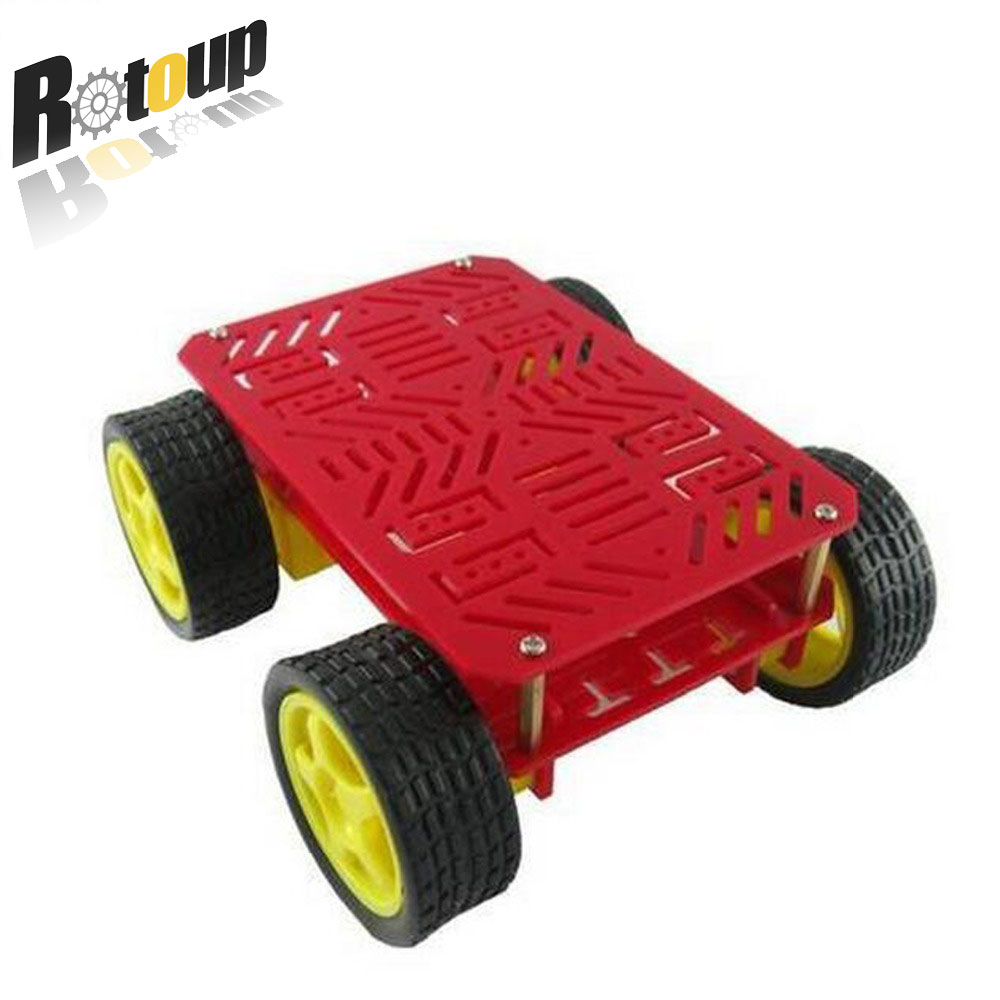 Rotoup 4WD Smart robot chassis kits tracking Motor Wheels Tire trye speed Encode for arduino platform chiasis magic car #RBP021 see by chloé повседневные брюки