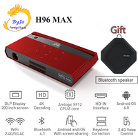 2019 NEW H96 MAX Portable Projector DLP Full HD 4K WIFI 5G Android 6.0 S912 2+16G Touch button voice remote 200 inch HomeTheater