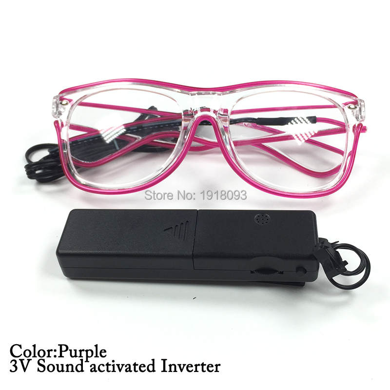Monochrome EL Wire Glasses 10Colors Wholesale Glasses 30pieces With Sound Activated Driver For Novelty Lighting Decoration