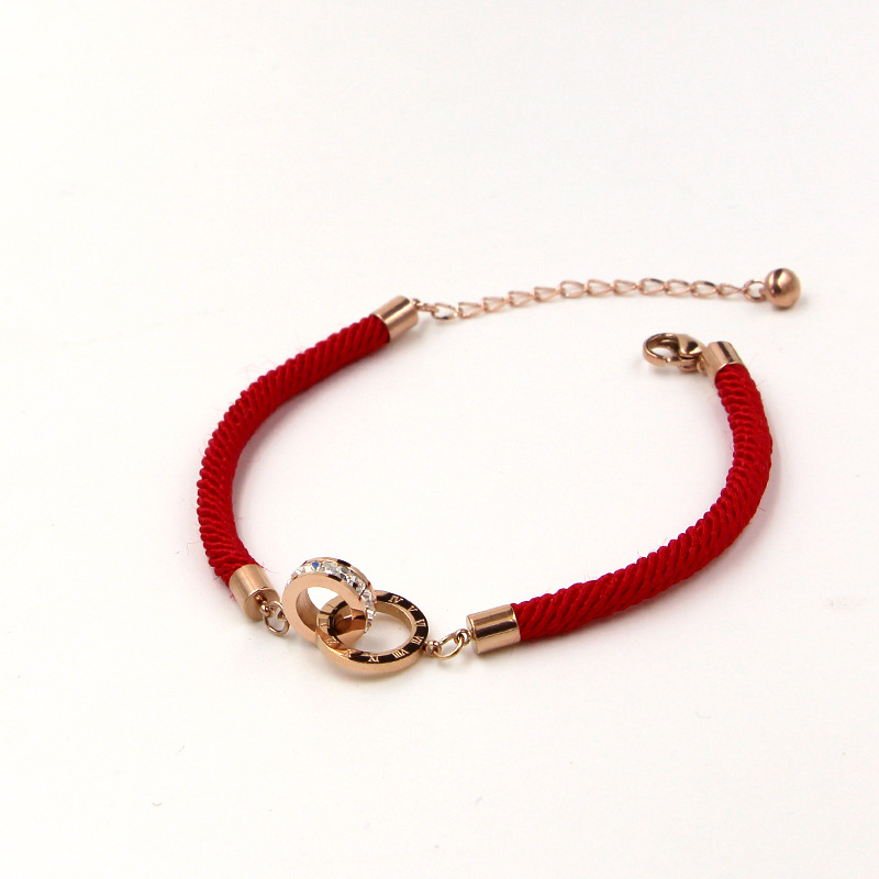 2018 Fashion Stainless Steel Crystal Better Roman Numerals Double Circle Loop Charm Red Rope Bracelet Bangle Woman Party Gift