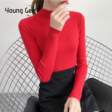 Young Gee 2019 Autumn Winter Women Slim Fitting Knitted Turtleneck Sweater All Match Basic Top Pull Femme Pullover