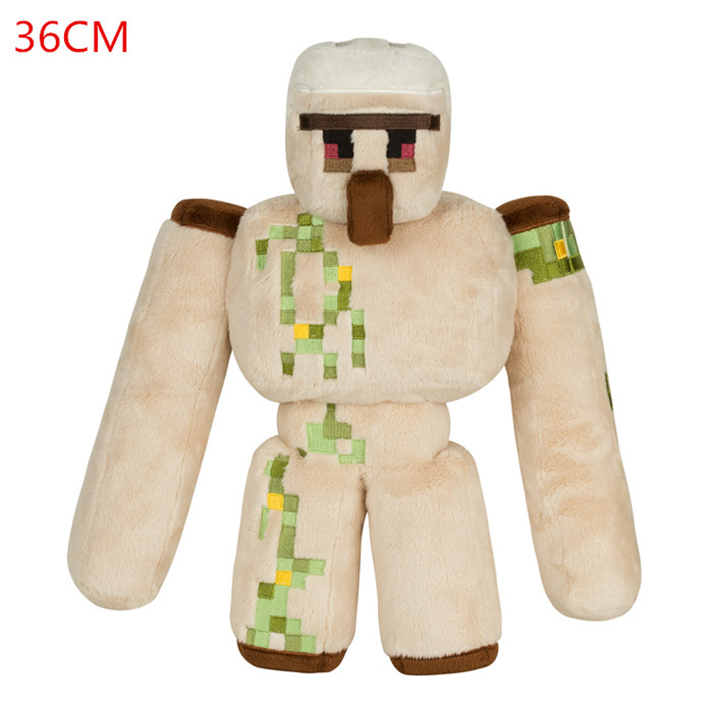 Minecraft Plush Toys 36cm Minecraft Iron Golem Sword Pickaxe Stone Bed Box Action Figure Model Toys for Kids Children Gifts minecraft toys minecraft sword eva model toys action figures toys for kids brinquedos gifts