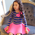 2016 Girls Spring Dress Cotton Stripe Toddler Princess Girls Ruffle Summer Dress With a Bow Long Sleeve Children Clothing Dress