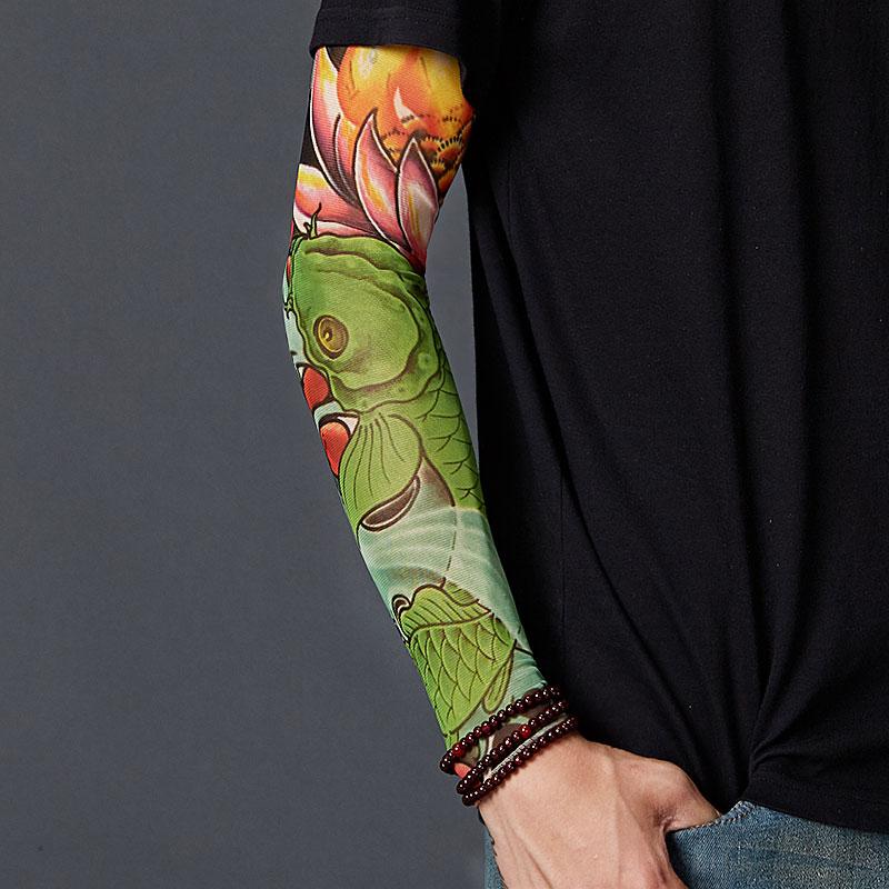 1Pair Man Unisex Fashion Arm Warmer Sun Protection Outdoor Cycling Elastic Nylon Sleeves Stretchy Fake Temporary Tattoo Sleeve