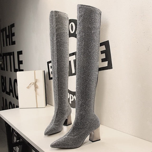 black silver glitter thigh high sock boots women designer metal thick heel  sequined fabric over the knee boots women botas y794 2f6743be430d