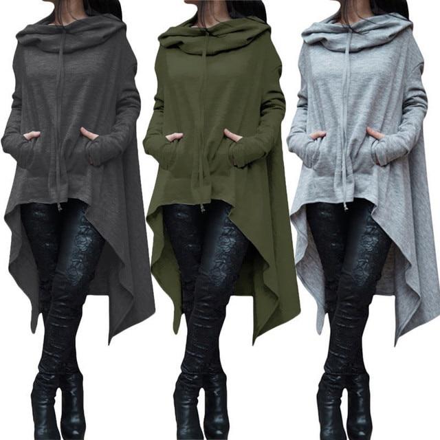Nueva moda para mujer casual suelta manga larga Sudaderas sudadera Tops  bolsillos de color sólido moda 29407d4a4d0e
