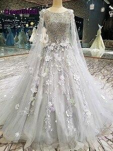 CloverBridal зимнее романтичное серое платье для выпускного вечера с цветами и бусинами, 2018, со съемной спинкой и шаль на плечи, 3 метра