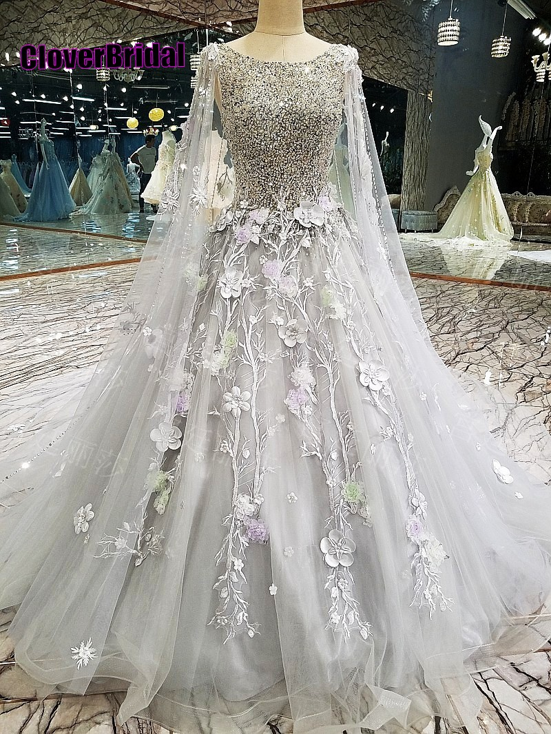 CloverBridal winter romantic flowers beaded grey prom dresses 2018 keyhole back with removable 3 meters shoulder shawl yarn