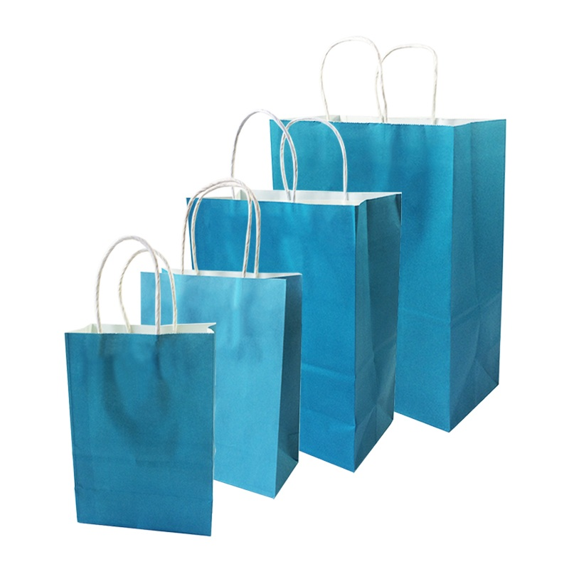 10 Pcs/lot Festival Gift Kraft Bag Blue Shopping Bags DIY Multifunction Recyclable Paper Bag With Handles 4 Size Optional