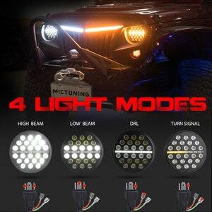 Image 5 - Светодиодный рабочий светильник MICTUNING, 2 шт., 7 дюймов, 80 Вт, ДХО, дневные ходовые огни, световой поток, янтарный сигнал поворота для J eep Wrangler
