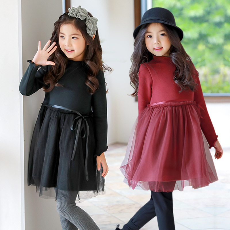 Christmas thick teenage little girls winter dress long sleeve 2017 new kids clothes mesh black red dress for girls 14 10 12 футбольная форма other 14 15 real madrid third away black dragon long sleeve kids