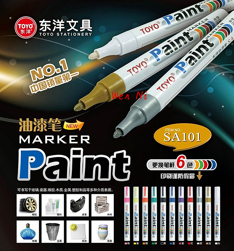 1pcs 100% Authentic TOYO color marker waterproof permanent marker tire tread rubber paint metal face Permanent Paint Marker Pen