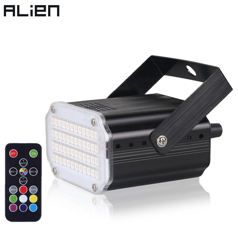 ALIEN 48 RGB UV LED DJ Disco Sound Activated Stage Lighting Effect Party Holiday Club Strobe Flash Lights With Remote Control