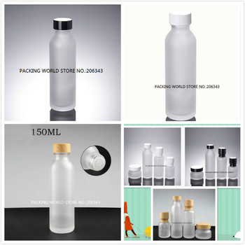 150ml frosted glass bottle with white/black/wood shape lid plastic stopper for water /toner/lotion/emulsion cosmetic packing
