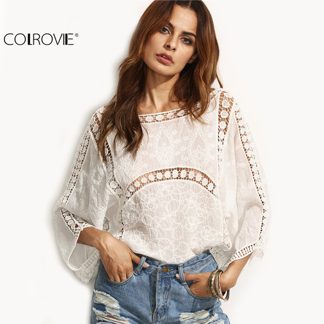 COLROVIE Beige Hollow Out U Back Three Quarter Length Sleeve Shirt Women Loose Clothing Round Neck Blouse