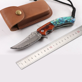 Free shipping New style The handle shell Pure manual Damascus knife Pattern steel folding knife Exquisite gift