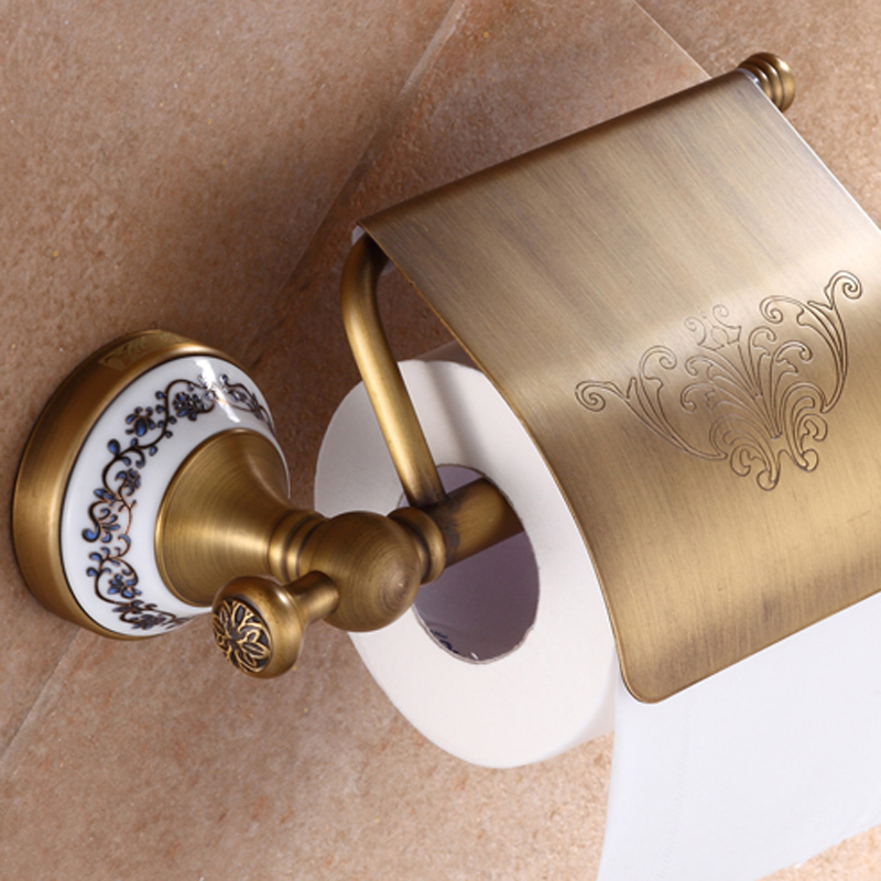 Antique Brass Luxury Bathroom Accessory paper Holder Toilet Brush Rack Commodity Basket Shelf Soap Dish Towel