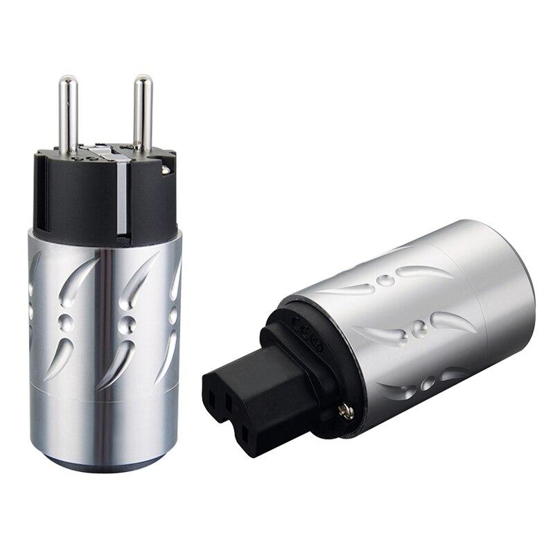 Viborg Pair Aluminium Alloy VE502S VF502S Pure Copper Silver Plated EU Plug Type Schuko Power Plug Hifi & IEC Female Connectors цена