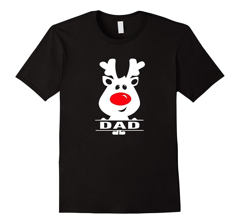 Dad Reindeer Custom Christmas Pajamas T Shirt Men 2017 Summer Round Neck MenS T-Shirt Pure Cotton Round Collar Men Top Tee