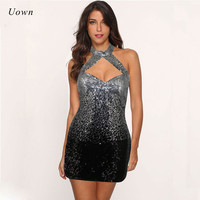 2017 Sexy Backless Sequin Dress Women Halter Front Cut Out Open Back Sparkly Bodycon Dress Going Out Mini Dress Party Clubwear
