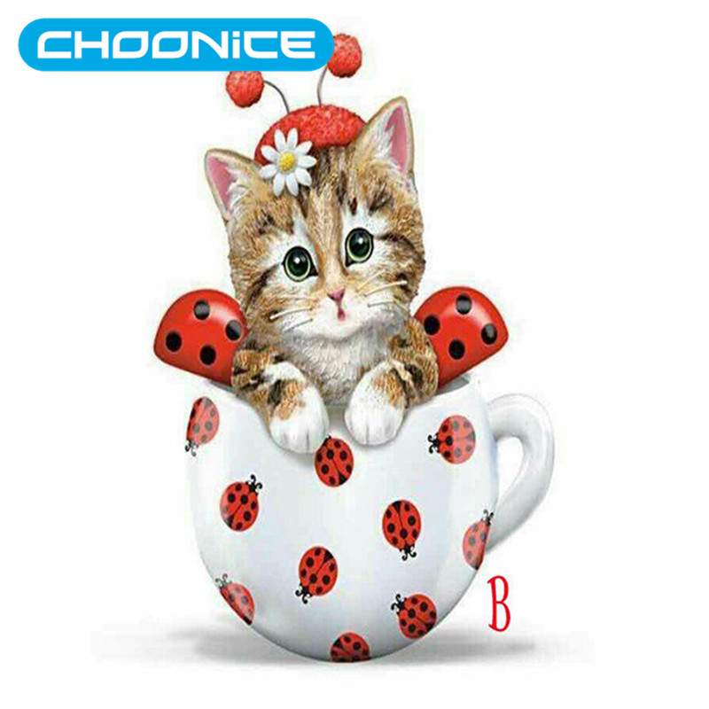 Cup Cat Diamond Painting Kitten DIY 3D Diamond Embroidery Ladybug Cup Pokemon Cat Picture Beading Embroidery Kits Pet Cat