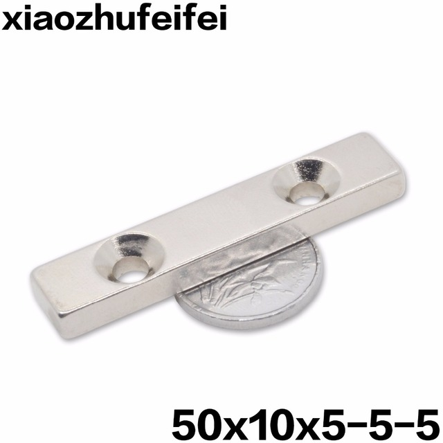 10pcs N38 50x10x5 Super Strong Block Countersunk Magnets 50 x 10 x 5 mm 2 hole  sc 1 st  AliExpress.com & 10pcs N38 50x10x5 Super Strong Block Countersunk Magnets 50 x 10 x 5 ...