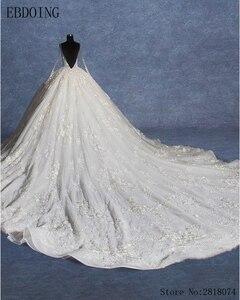 Image 3 - Real Photo Vestidos De Novia ชุดบอลชุดแต่งงาน Scoop คอแขนยาว Royal Train Plus ขนาดเจ้าสาวลูกไม้เจ้าสาว Gowns