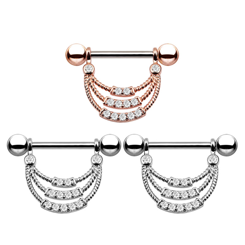 2Pcs Fashion Stainless Steel Rose Gold Colors U Shaped Oval Water Drop Silver Sexy Nipple Piercing Women Body Piercing Jewelry