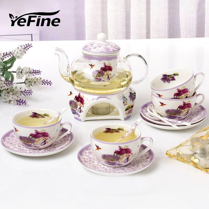 YeFine Lavender Flower Tea Set Heatable Glass Teapot Bone China Cups And Saucers Porcelain Base Ceramic