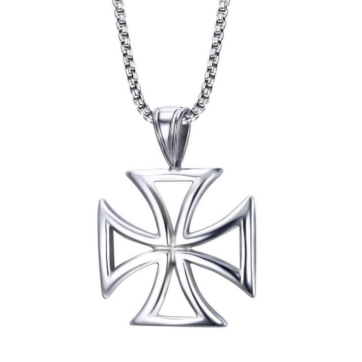 Mens Necklace Stainless Steel Vintage Hollow Knights Templar Iron Cross Pendant Necklace for Men Biker Maltese Cross Jewelry
