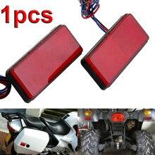 1X красный светодиодный фонарь для мотоцикла, Прямоугольный светильник, универсальный для мотоцикла, автомобиля, грузовика, прицепа, задний тормоз, стоп-сигнал, габаритная лампа