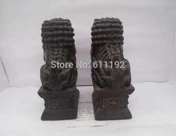 FengShui Home Decoration Antique Statue Metal Crafts, A Pair Exorcism Fu Foo Dog Lions Sculpture