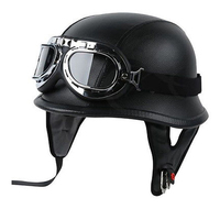 Leather Retro Motorcycle Helmet Pilot Chopper Cafe Racer Crash Helmet Vintage Motorbike Moto Motorcycle Helmet For Motorcycle
