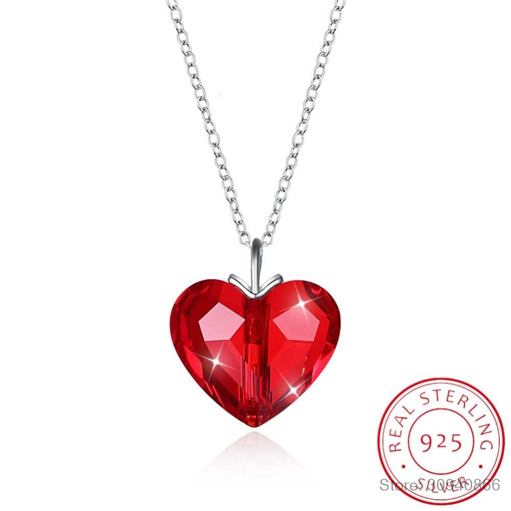 LEKANI Crystals From Swarovski Fine Red Heart Pendant Necklace For Women Real S925 Silver Collares Lovers Valentine's Day Gift