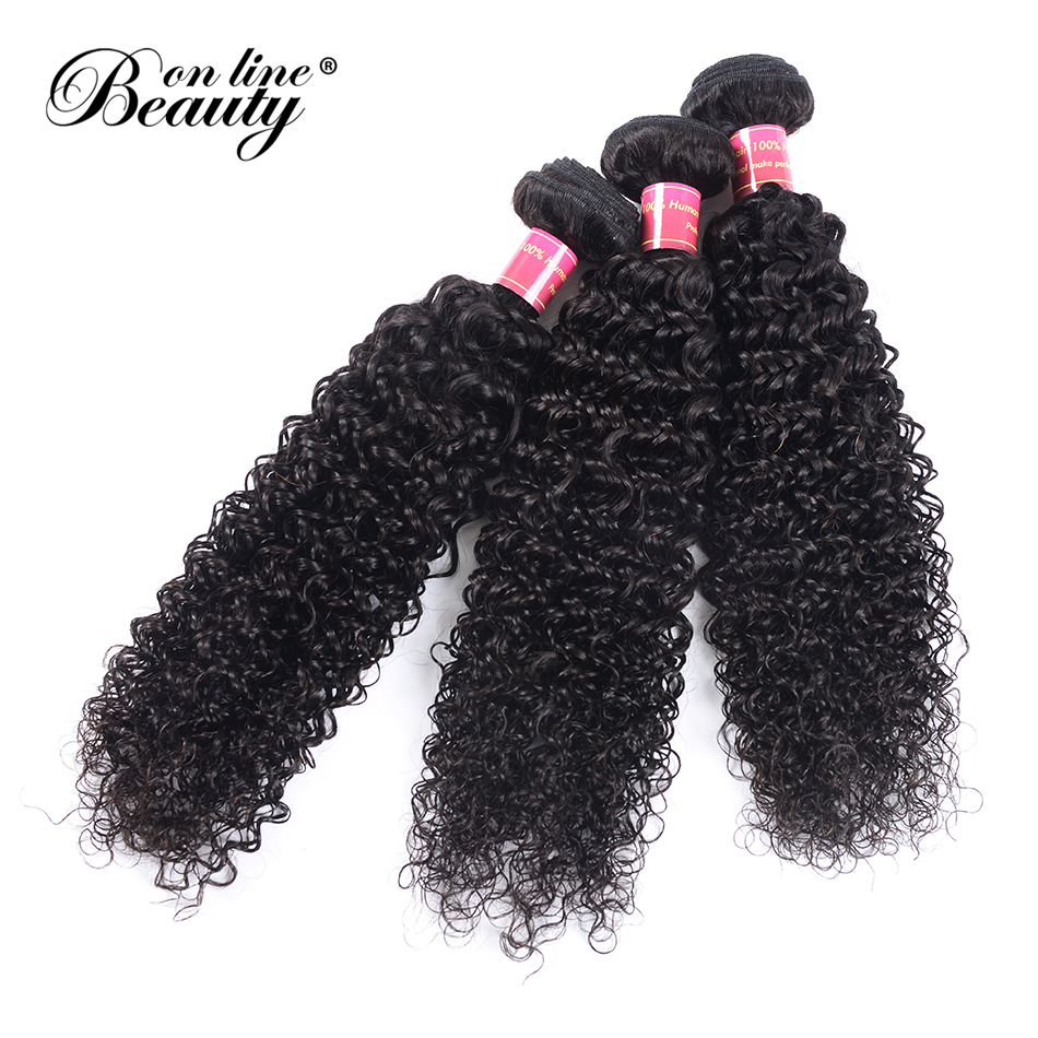 Beauty On Line Afro Kinky Curly Hair 1/3 Bundles Natural Color 8-30 inch Malaysian Hair Weave Bundles Remy Human Hair Extensions