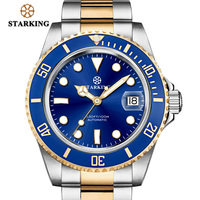 STARKING Sport Watch 100m Waterproof Men Stainless Steel Chronograph Mechanical Watch Bule Male Wrist watch Fashion Role Watches