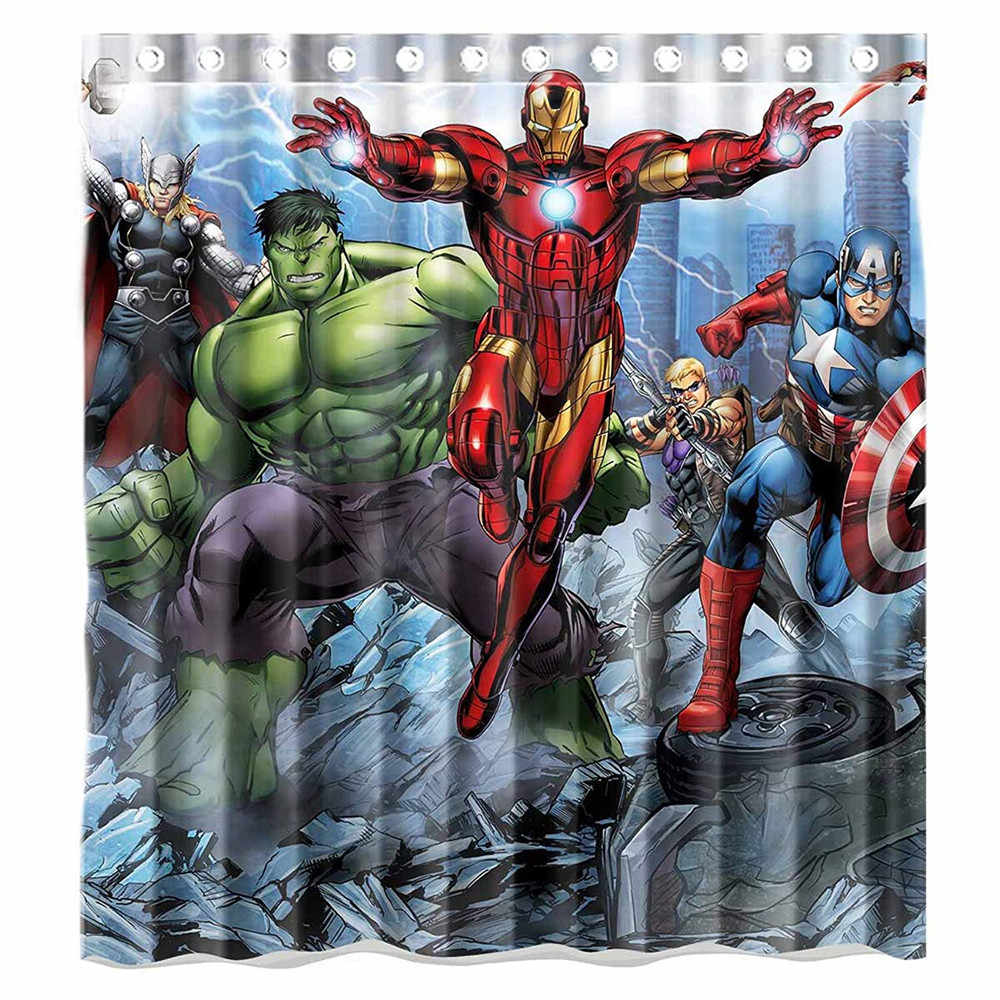 Custom Avengers Movie Incredible Hulk and Iron Man Characters Waterproof Bathroom Shower Curtain Polyester Fabric Shower Curtain