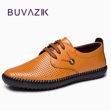 2018 Men Shoes Genuine Leather Summer Casual Shoes Breathable Soft Driving Men's Handmade Loafers Chaussure Homme