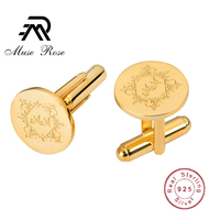 Customized Wedding Engagement Jewelry Cufflinks for Mens Gold Round 925 Personalized Wedding Gifts for Bride and Groom