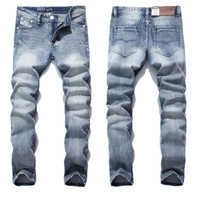 2016 New White Washed Italian Designer Men Jeans High Quality Dsel Brand Straight Fit Distressed Ripped