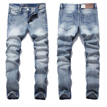 2017 New White Washed Italian Designer Men Jeans High Quality Dsel Brand Straight Fit Distressed Ripped Jeans For Jeans Men