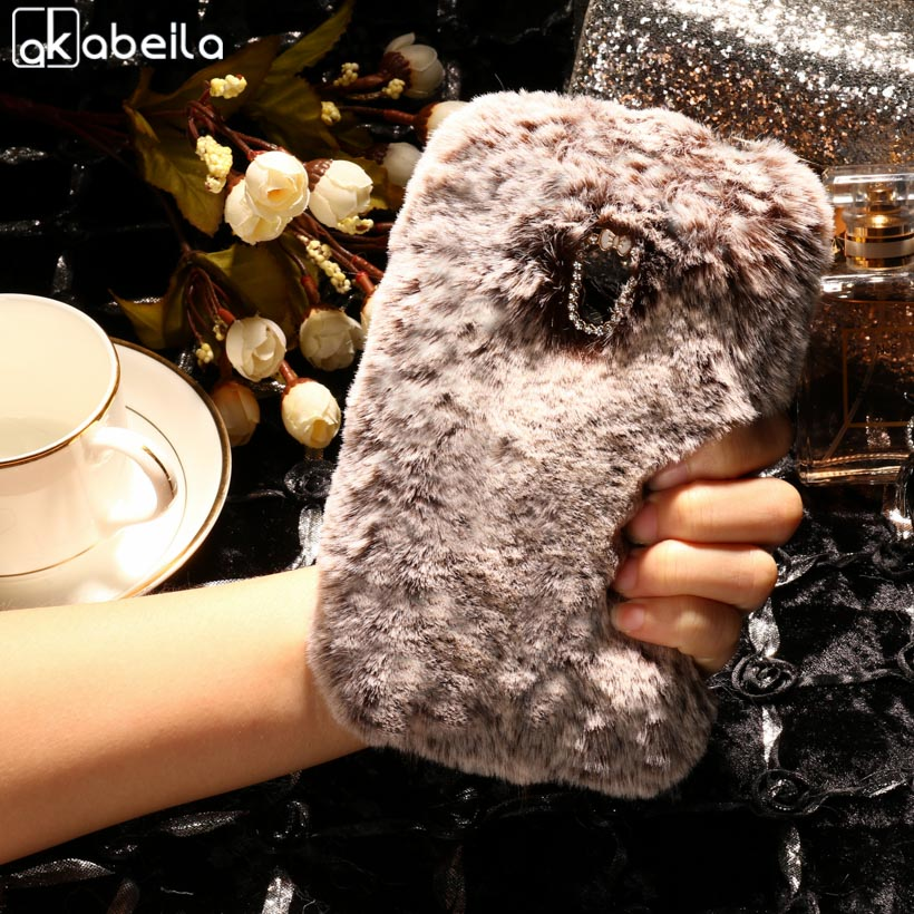 AKABEILA Silicone Phone Cover For Alcatel OneTouch Pixi 4 5045D 5045 Pixi4 OT-5045 5045X 5.0 inch Case Rabbit Fur Hair TPU Cover